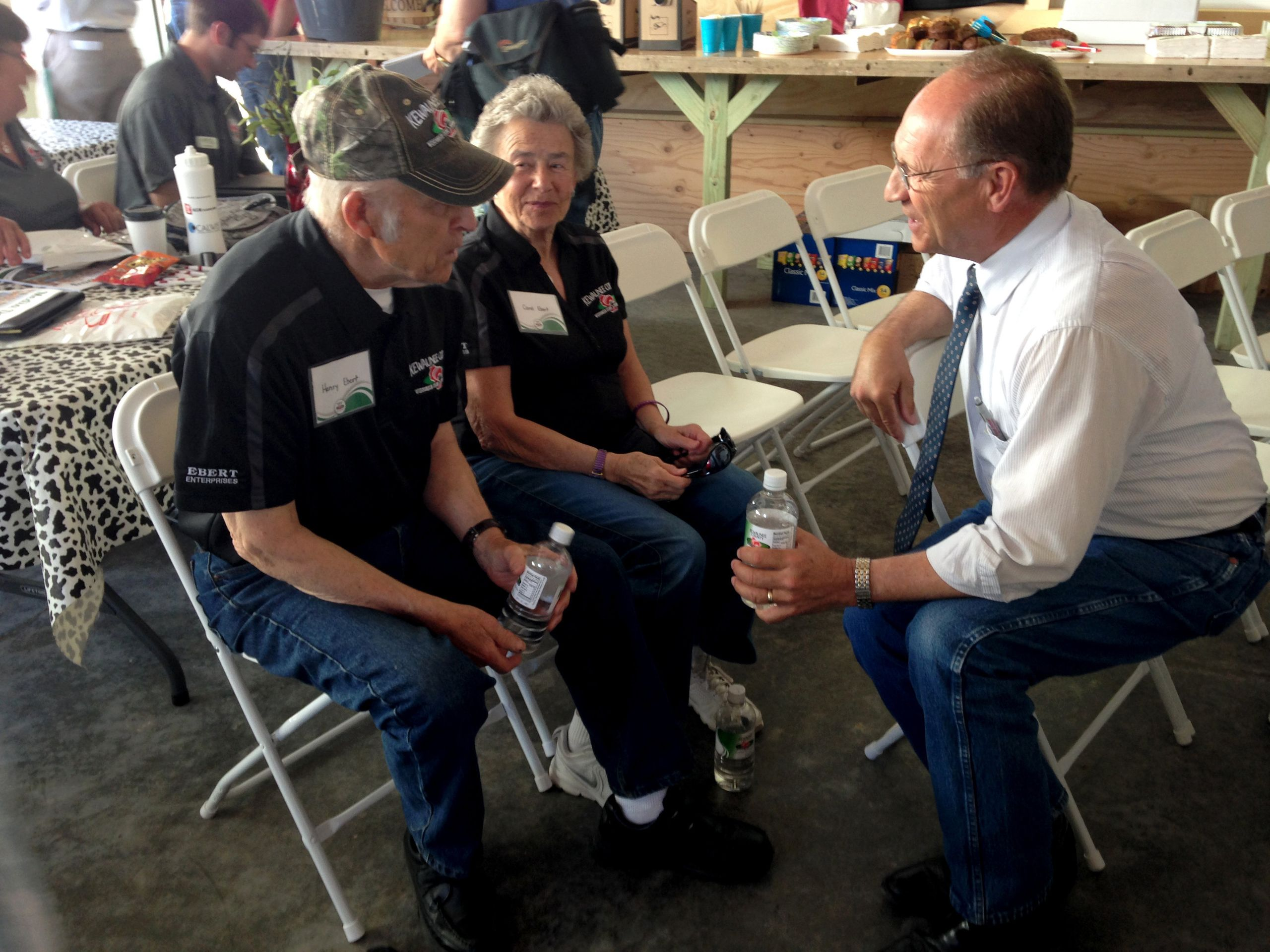 Then-Wisconsin Agriculture Secretary Ben Brancel meets with Henry and Carol Ebert during Farm Technology Days in Algoma, Wisc