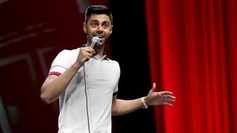 SAN FRANCISCO, CA - JUNE 04:  Comedian Hasan Minhaj performs onstage at The Bill Graham Stage during Colossal Clusterfest at Civic Center Plaza and The Bill Graham Civic Auditorium on June 4, 2017 in San Francisco, California.  (Photo by FilmMagic/FilmMagic)