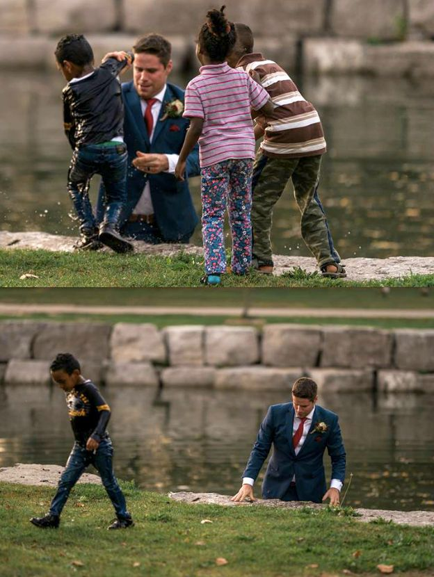 Groom Heroically Saves Drowning Boy During Wedding Photo