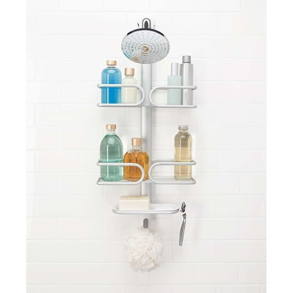 "Get rid of the clutter lining your shower with this rust-proof caddy, <a href=""https://www.oxo.com/products/storage-organizat"