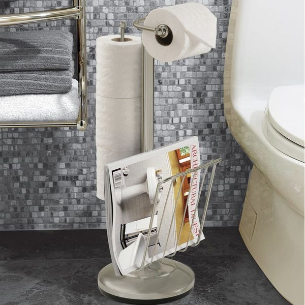 "This holder doubles as a magazine rack. <a href=""https://www.wayfair.com/Better-Living-Products-Free-Standing-Toilet-Paper-Ho"