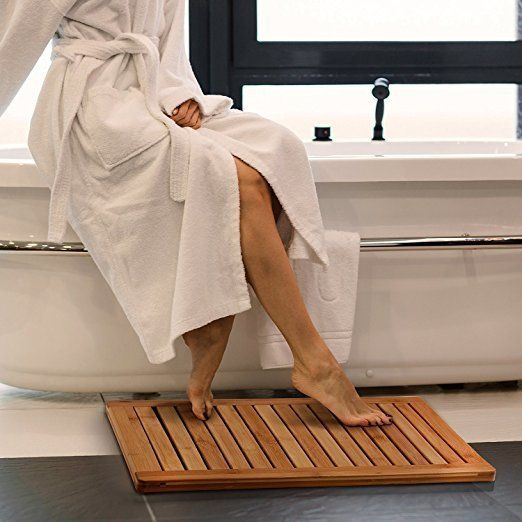 "Switch up your typical fuzzy bath mat look with this waterproof bamboo mat for only <a href=""https://www.amazon.com/dp/B01DTE"