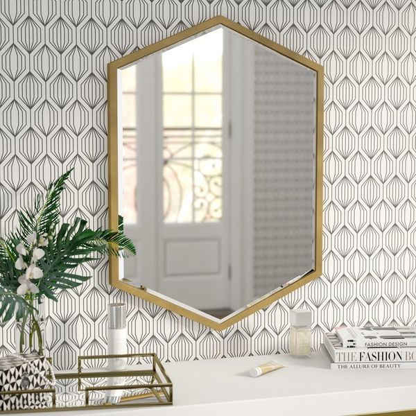 "Get this minimalist one <a href=""https://www.wayfair.com/Cherine-Hexagon-Wall-Mirror-WRLO8732.html"" target=""_blank"">here, $14"