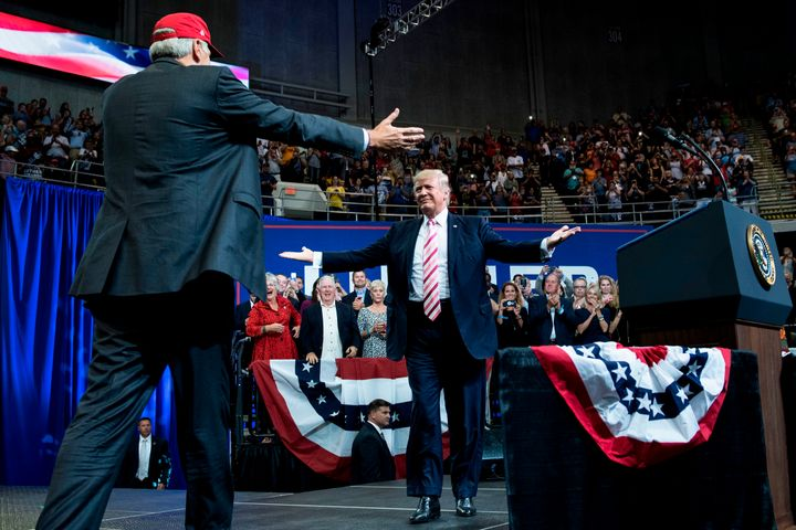 President Donald Trump prepares to embrace Sen. Luther Strange at a Sept. 22 rally in Huntsville, Alabama.