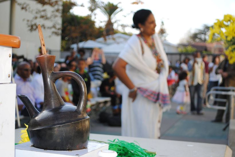 Traditional Ethiopian Coffee is prepared while Ethiopian song and dance are performed for the audience.
