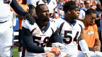 ORCHARD PARK, NY - SEPTEMBER 24: Denver Broncos outside linebacker Von Miller (58) and Denver Broncos inside linebacker Brandon Marshall (54) take a knee during the national anthem during their game against the Buffalo Bills on September 24, 2017 at New Era Field in Orchard Park, NY. (Photo by John Leyba/The Denver Post via Getty Images)