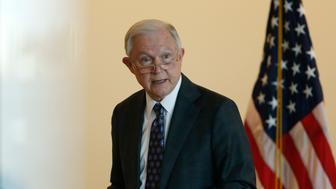 BOSTON, MA - SEPTEMBER 21: U.S. Attorney General Jeff Sessions gives remarks to federal law enforcement about transnational criminal organizations at the Moakley Courthouse in Boston on Sep. 21, 2017. (Photo by Jessica Rinaldi/The Boston Globe via Getty Images)