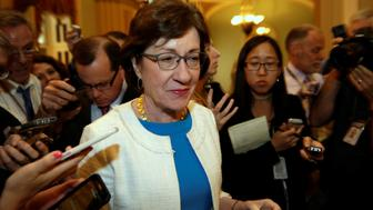 Senator Susan Collins (R-ME) talks to reporters as she arrives for a Senate healthcare vote on Capitol Hill in Washington, U.S., July 27, 2017. REUTERS/Yuri Gripas