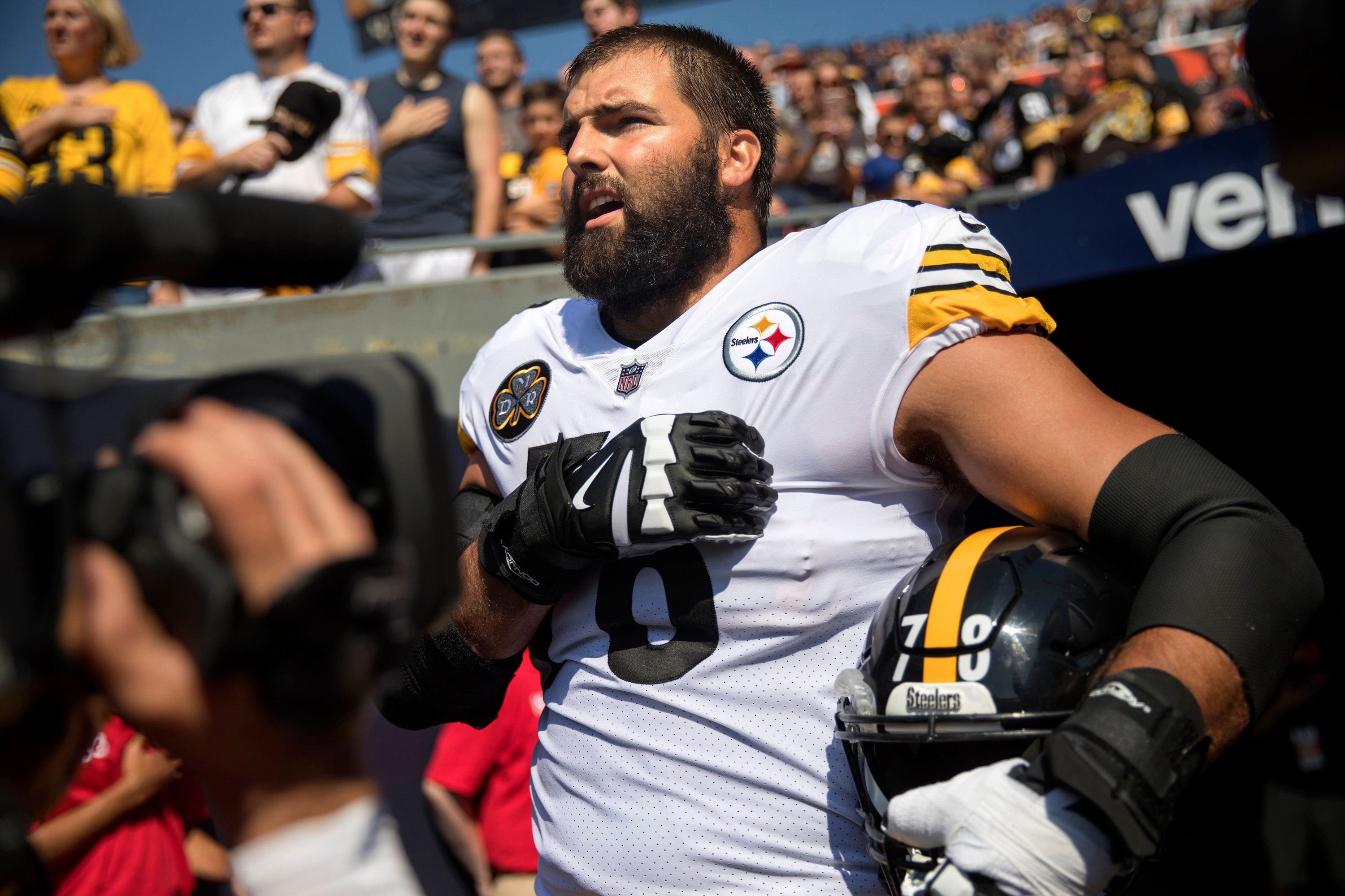 Pittsburgh Steelers offensive tackle Alejandro Villanueva (78) is the sole member of the team to stand in the open for the national anthem while his teammates remained in the tunnel before a game against the Chicago Bears on Sunday, Sept. 24, 2017, at Soldier Field in Chicago, Ill. (Erin Hooley/Chicago Tribune/TNS via Getty Images)