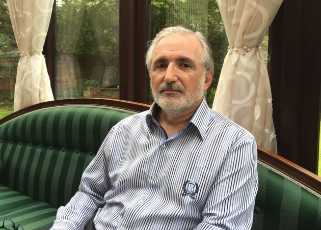Nasser Kurdy speaking at his home in Hale, Cheshire where he he has forgiven a man who stabbed him in...