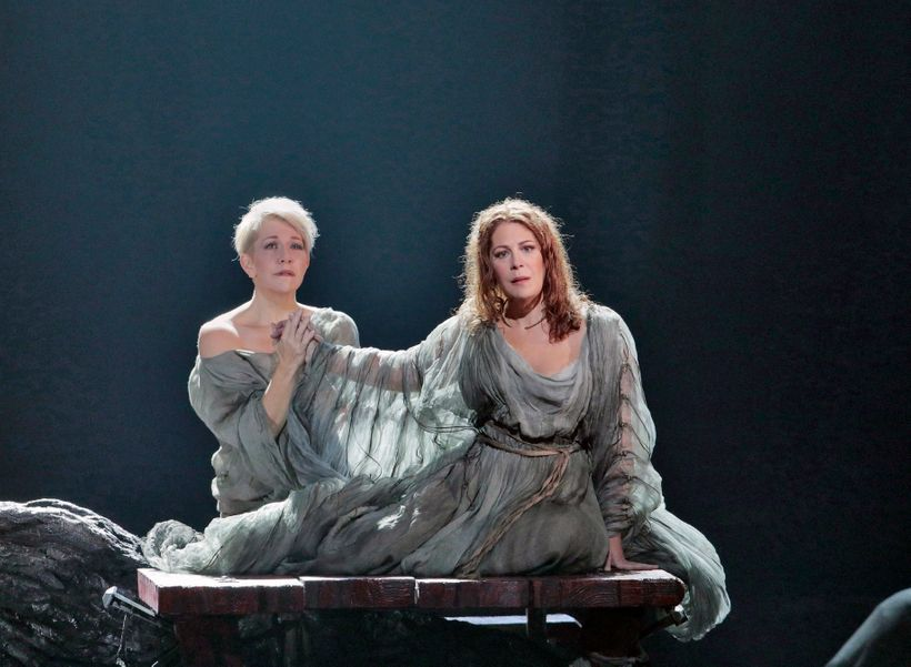 Sondra Radvanovsky, foreground, and Joyce DiDonato in the Met Opera's new production of Bellini's <em>Norma.</em>
