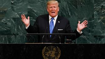 UNITED NATIONS, Sept. 19, 2017 -- U.S. President Donald Trump speaks during the General Debate of the 72nd session of the United Nations General Assembly, at the UN headquarters in New York, Sept. 19, 2017. (Xinhua/Li Muzi via Getty Images)