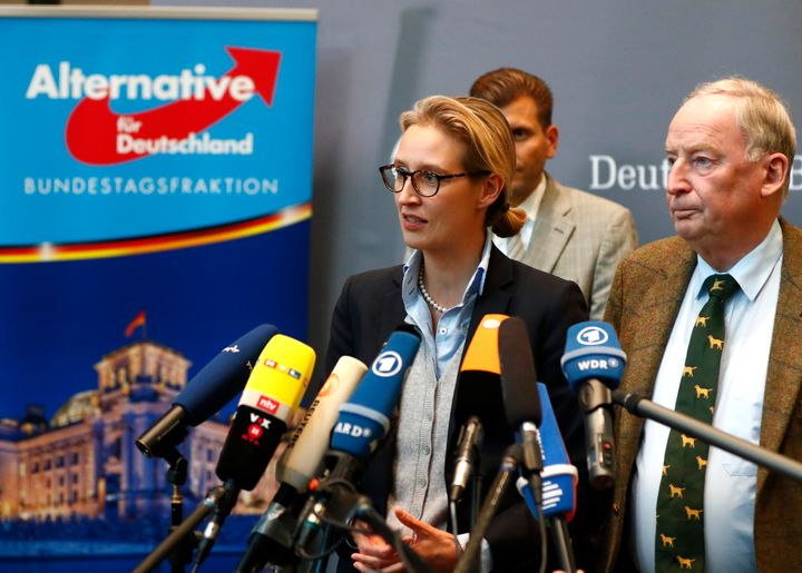 Anti-immigration AfD party top candidates Alice Weidel and Alexander Gauland make a statement after their first parliamentary