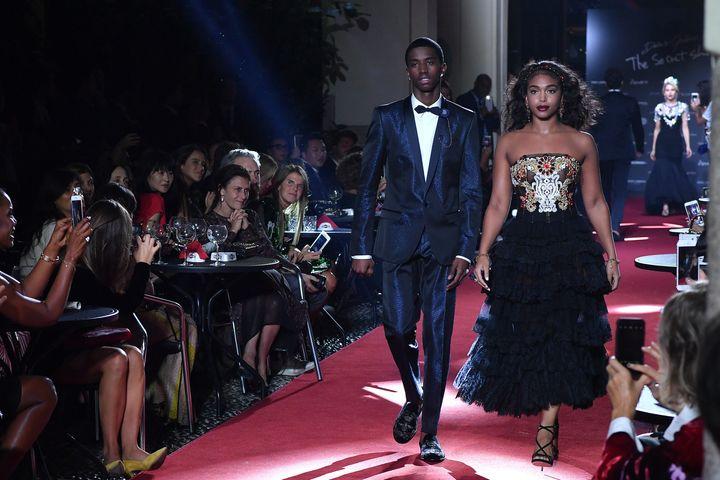 Christian Combs and Lori Harvey walk the runway at the Dolce & Gabbana secret show during Milan Fashion Week Spring/Summe
