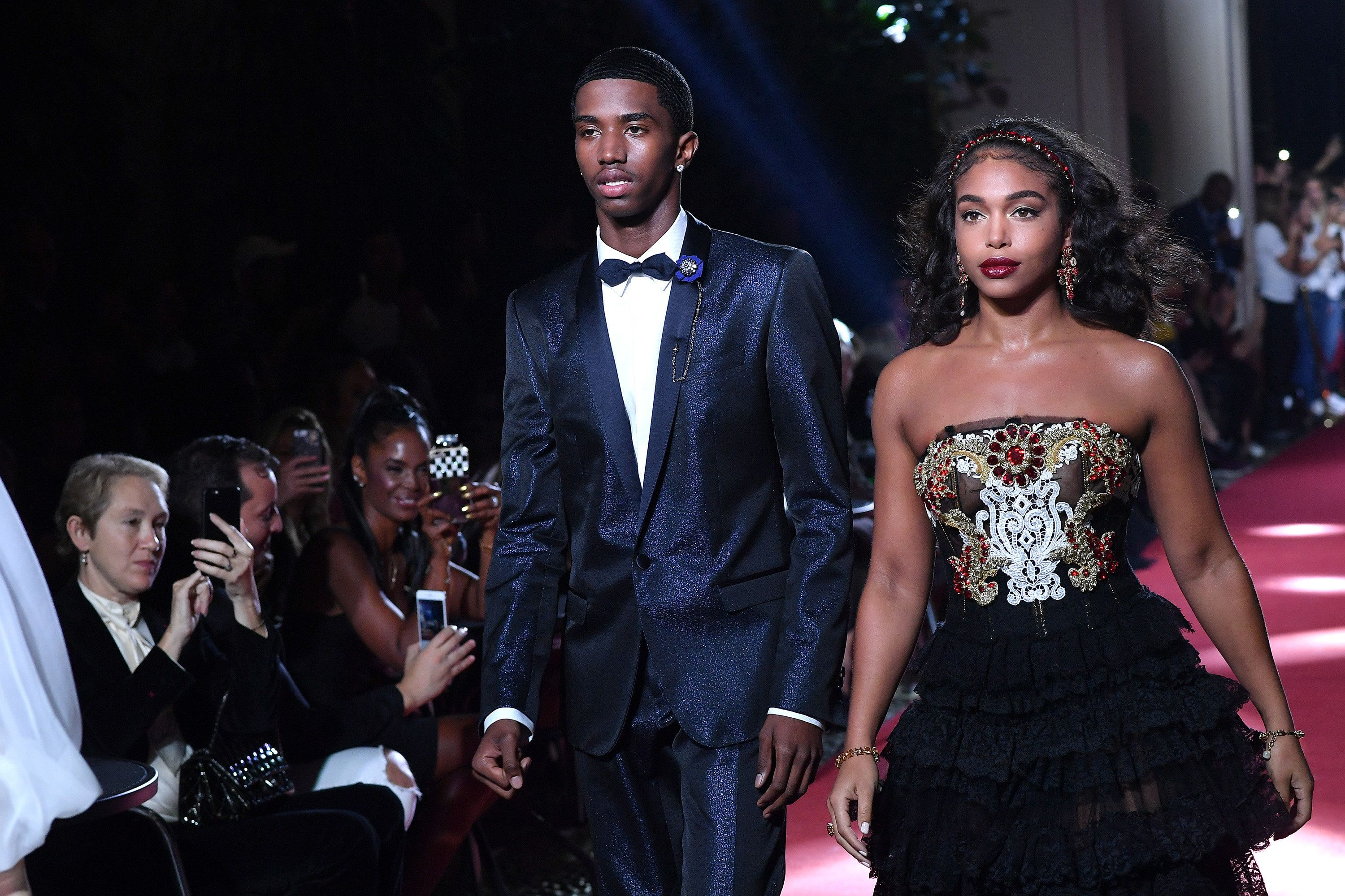 MILAN, ITALY - SEPTEMBER 23:  Christian Combs and Lori Harvey  walk the runway at the Dolce & Gabbana secret show during Milan Fashion Week Spring/Summer 2018 at Bar Martini on September 23, 2017 in Milan, Italy.  (Photo by Jacopo Raule/Getty Images)