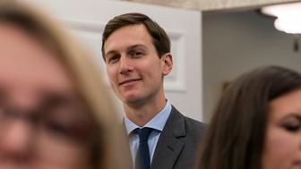 White House senior advisor Jared Kushner listens to US President Donald Trump speak after he signed a proclamation calling for a national day of prayer on September 3 for those affected by Hurricane Harvey in the Oval Office at the White House in Washington, DC, on September 1, 2017. / AFP PHOTO / NICHOLAS KAMM        (Photo credit should read NICHOLAS KAMM/AFP/Getty Images)