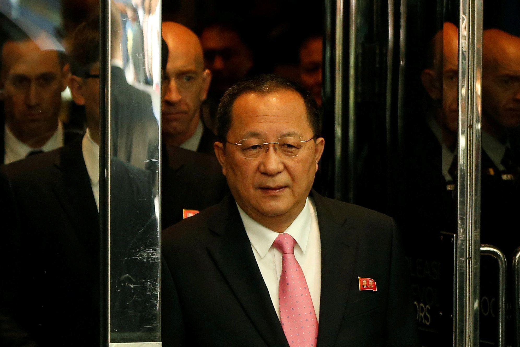 North Korean Foreign Minister Ri Yong Ho walks to speak to the media in New York onSept. 25.