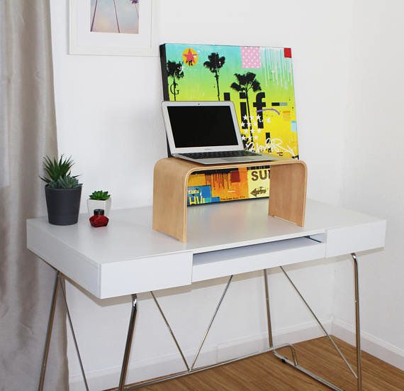 "This modern bent wood laptop stand turns any desk into a standing desk. <a href=""https://www.etsy.com/listing/520174498/"