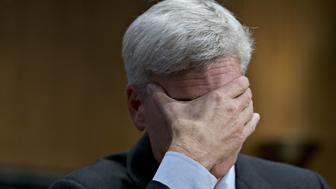Senator Bill Cassidy, a Republican from Louisiana, rubs his face during a Senate Finance Committee hearing to consider the Graham-Cassidy-Heller-Johnson proposal in Washington, D.C., U.S., on Monday, Sept. 25, 2017. Senators sponsoring a last-ditch Obamacare repeal bill raced to save it from near-certain death Sunday, circulating a new version aimed at winning over several GOP holdouts. Photographer: Andrew Harrer/Bloomberg via Getty Images