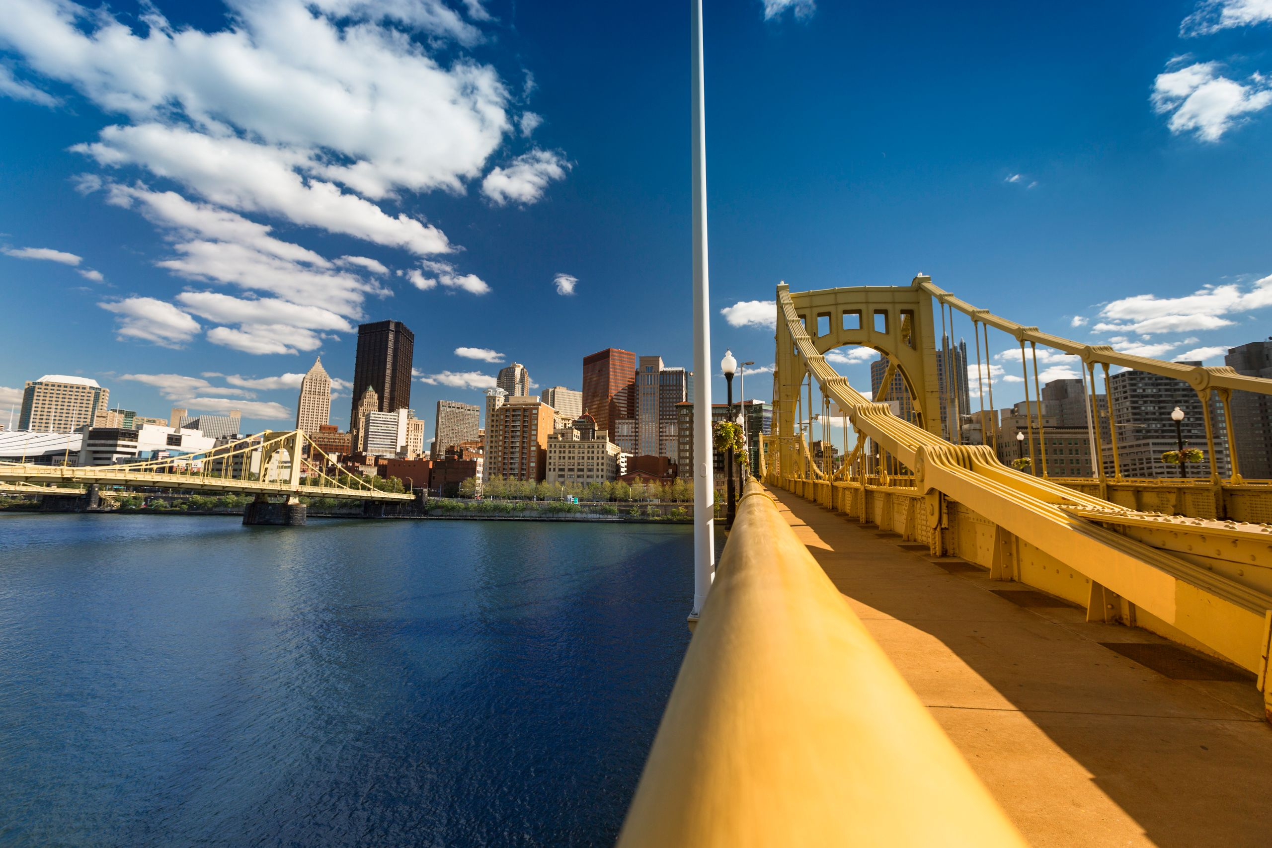 A view of the Roberto Clemente Bridge over the Allegheny River in Pittsburgh. Mayor William Peduto has welcomed the self-driv