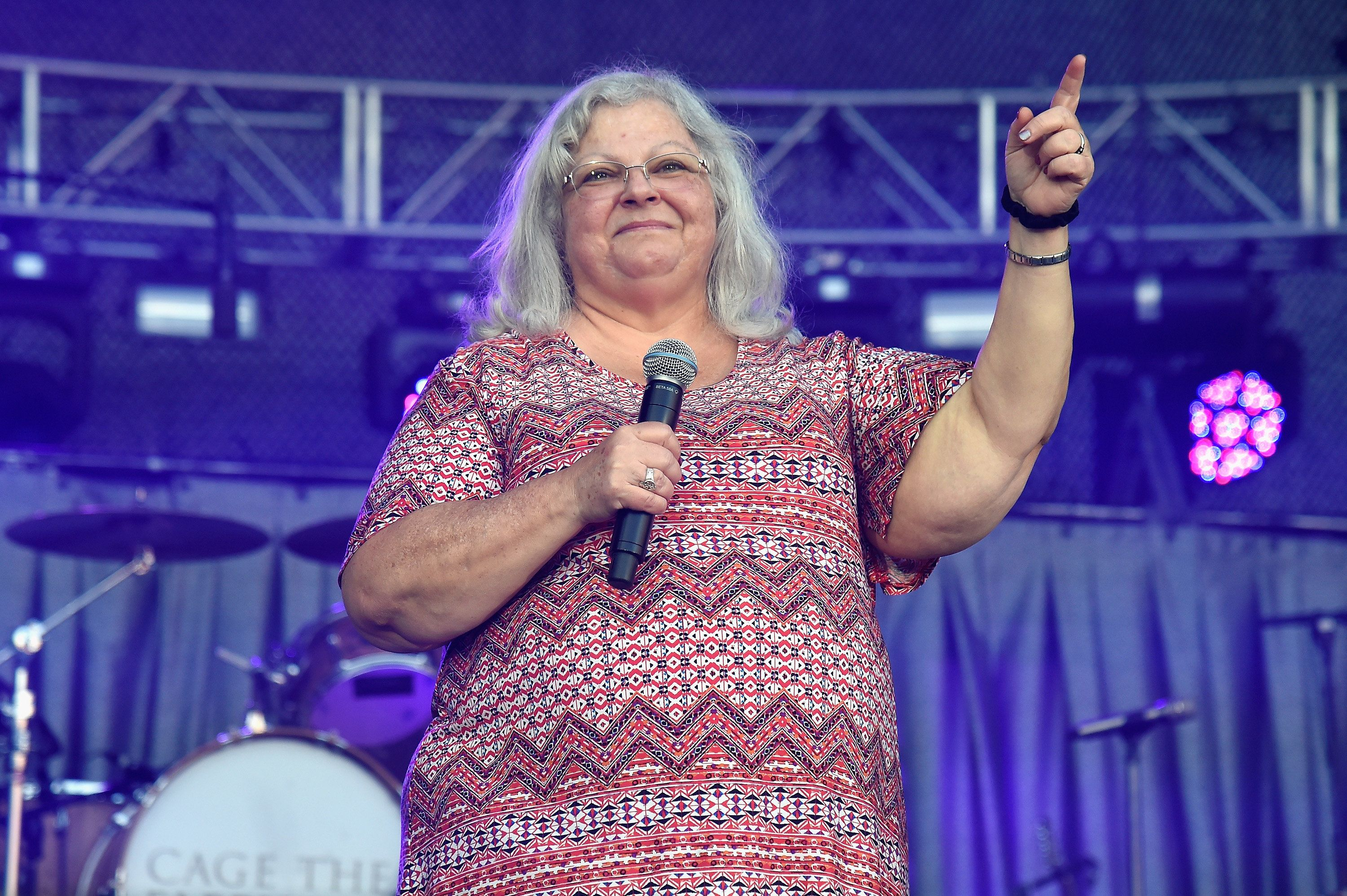 CHARLOTTESVILLE, VA - SEPTEMBER 24:  Susan Bro, mother of Heather Heyer, speaks onstage at 'A Concert for Charlottesville,'  at University of Virginia's Scott Stadium on September 24, 2017 in Charlottesville, Virginia. Concert live-stream presented in partnership with Oath.  (Photo by Kevin Mazur/Getty Images)