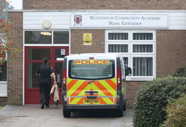 Police outside Winterton Community Academy in North Lincolnshire after a 16-year-old schoolgirl was arrested...