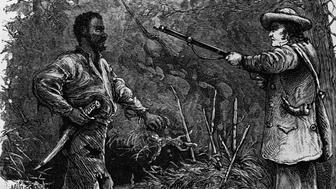 A wood engraving depicting the discovery of Nat Turner, a negro slave who led the Southampton Insurrection in August of 1831. (Photo by © CORBIS/Corbis via Getty Images)