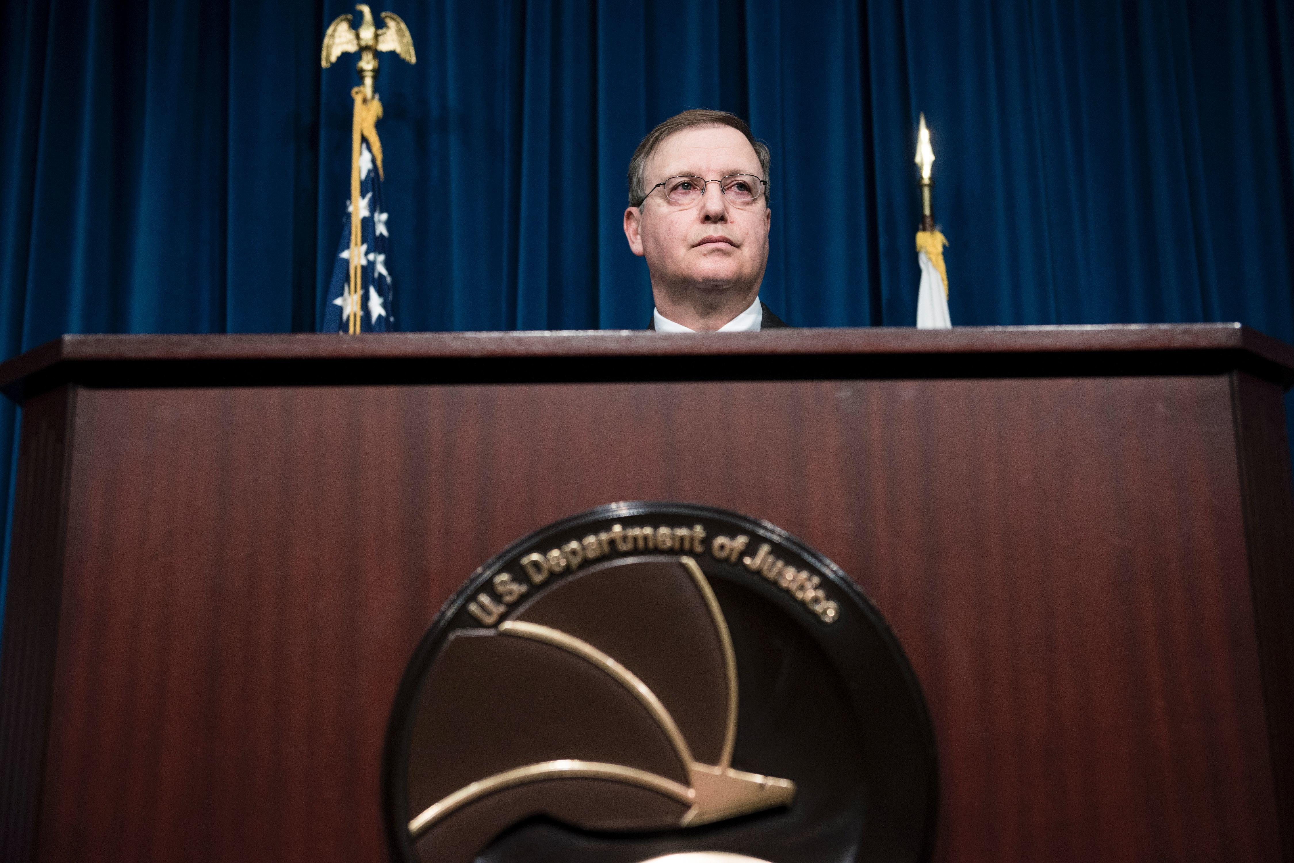 Acting Drug Enforcement Administration Administrator Chuck Rosenberg speaks about fentanyl atDEA headquarters on June 6