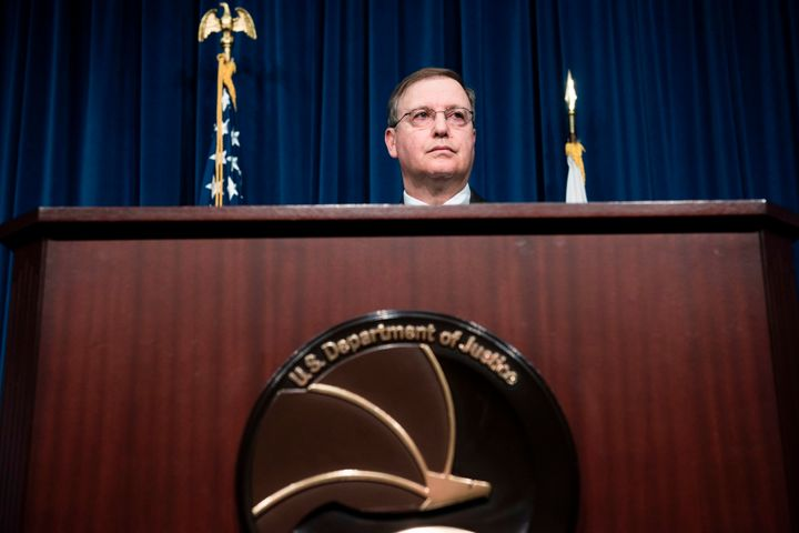Acting Drug Enforcement Administration Administrator Chuck Rosenberg speaks about fentanyl at DEA headquarters on June 6