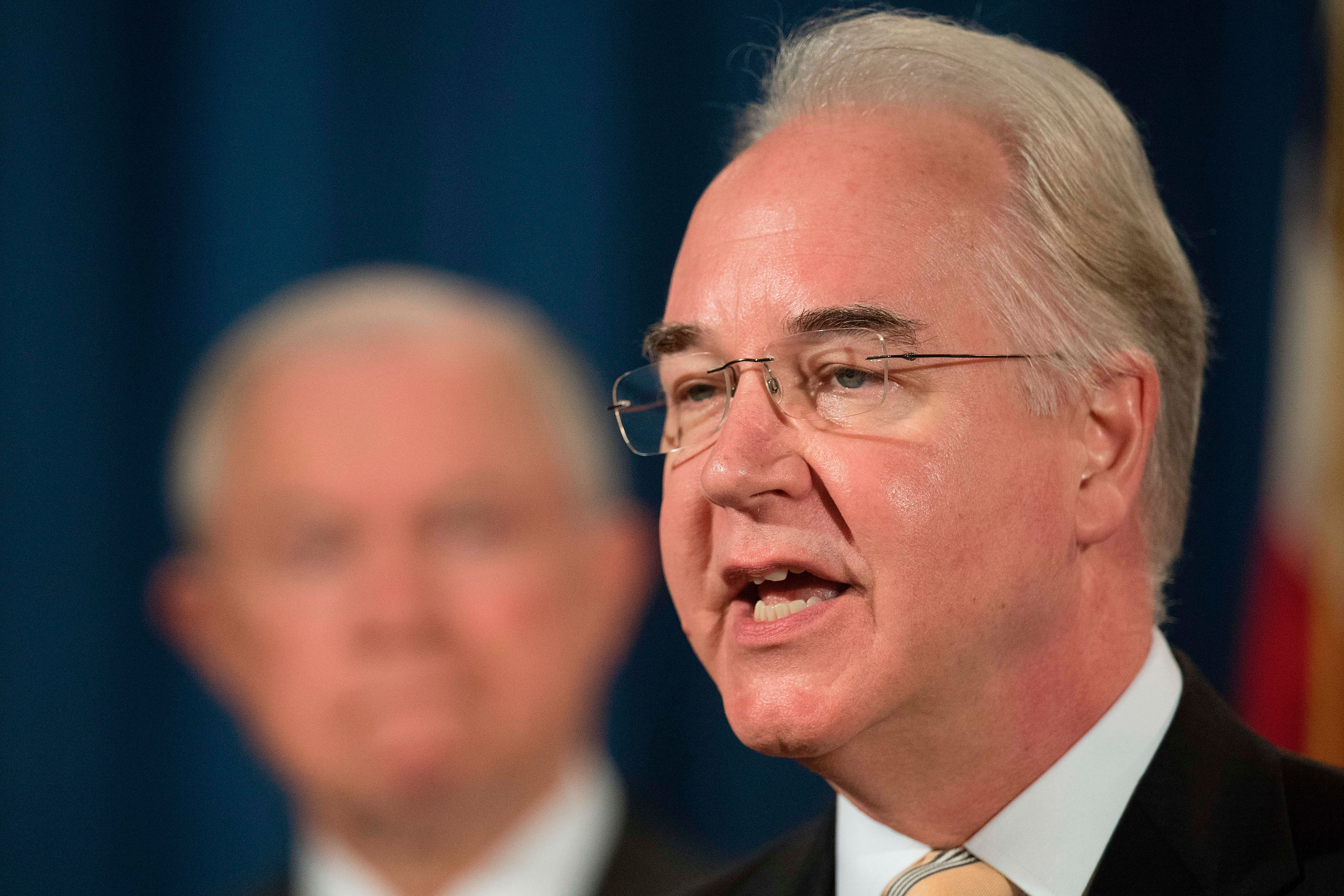 Health and Human Services Secretary Tom Price speaks during a press conference at the US Department of Justice in Washington, DC, on July 13, 2017.   / AFP PHOTO / JIM WATSON        (Photo credit should read JIM WATSON/AFP/Getty Images)