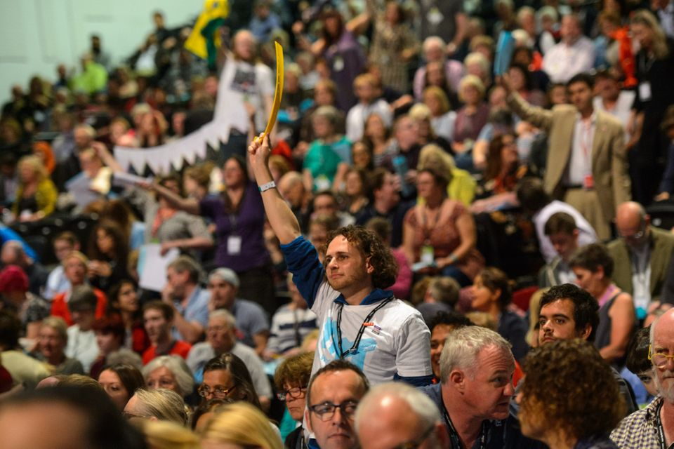 Delegates ask to speak during during the Labour Party conference in