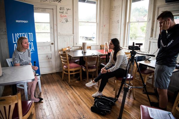 North Carolina state Sen. Terry Van Duyn is interviewed by HuffPost staffer Meredith Melnick during the visit to Ashevil