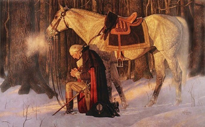 Portrait of President Washington kneeling at Valley Forge.