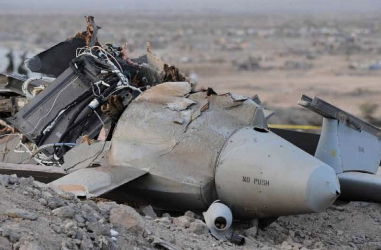 A crashed US drone in Djibouti.