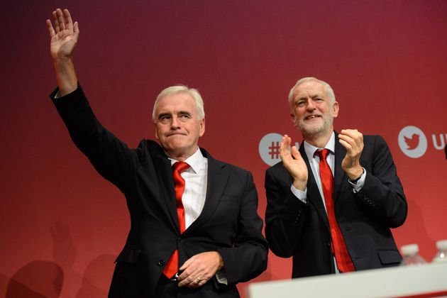 Shadow Chancellor John McDonnell and Labour leader Jeremy Corbyn pictured after McDonnell's speech during...