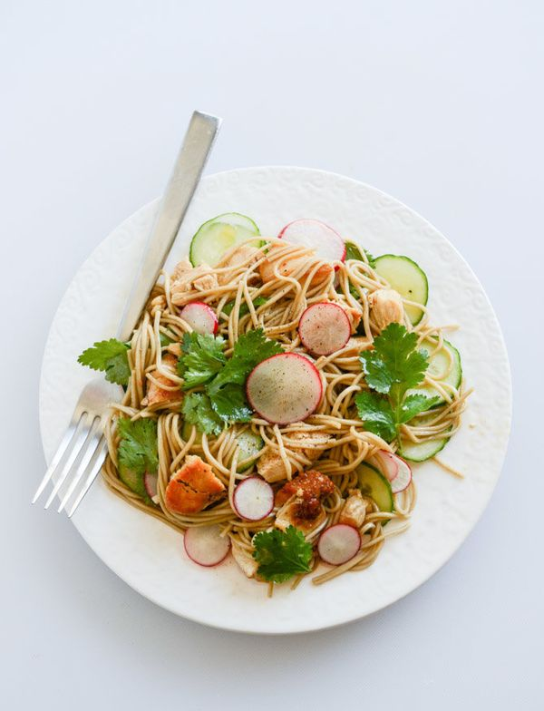 """<strong>Get the <a href=""""http://www.howsweeteats.com/2014/05/soba-noodle-salad-with-caramelized-chicken-and-chili-oil/"""" targe"""