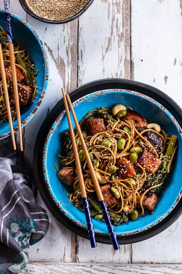 """<strong>Get the <a href=""""https://www.halfbakedharvest.com/sake-ginger-soba-noodle-salmon-stir-fry/"""" target=""""_blank"""">Sake and"""