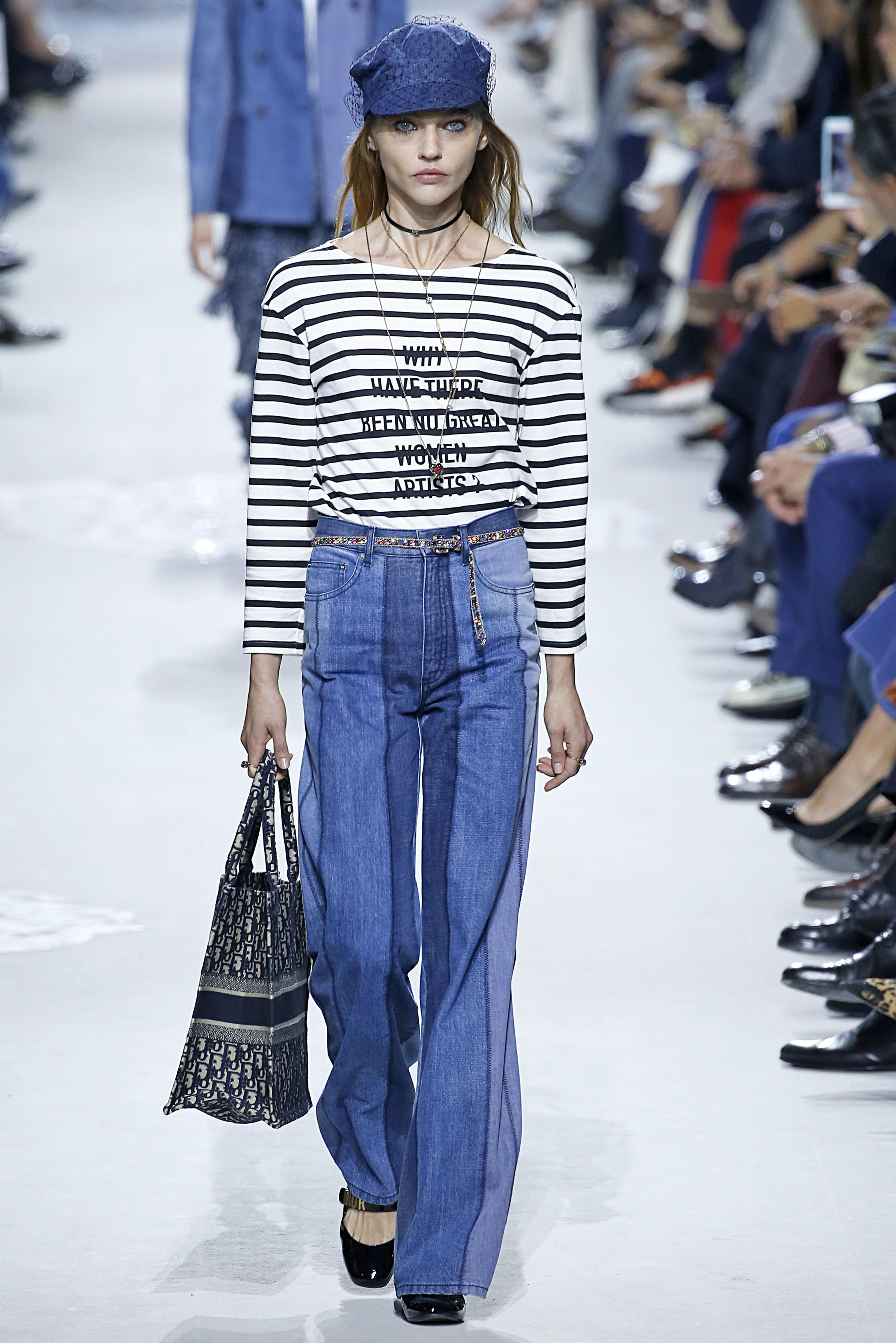 Sasha Pivovarova walks the runway during the Christian Dior Ready to Wear Spring/Summer 2018 fashion...