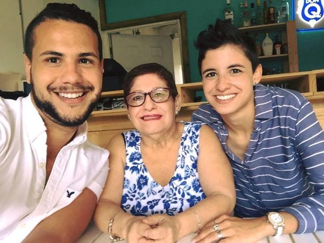 Samy Nemir Olivare (left) with his mother and