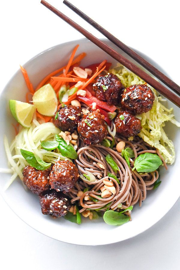 """<strong>Get the <a href=""""https://www.foodiecrush.com/soba-noodles-sriracha-meatballs/"""" target=""""_blank"""">Soba Noodles with Srir"""
