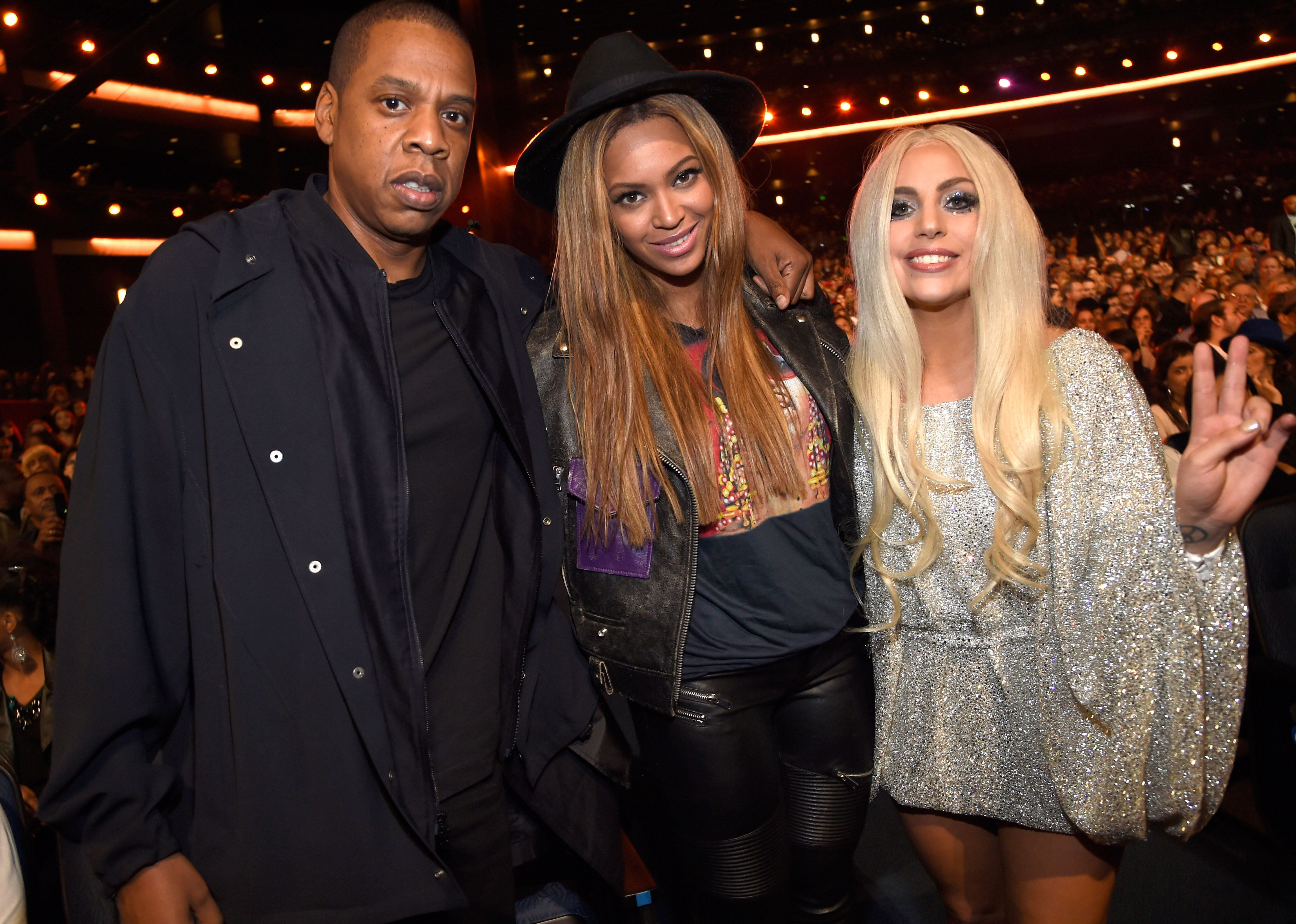 LOS ANGELES, CA - FEBRUARY 10:   Jay Z, Beyonce and Lady Gaga attend Stevie Wonder: Songs In The Key Of Life - An All-Star GRAMMY Salute at Nokia Theatre L.A. Live on February 10, 2015 in Los Angeles, California.  (Photo by Kevin Mazur/WireImage)