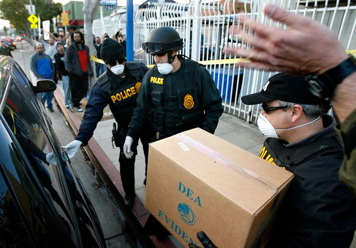 DEA agents have raided medical marijuana distribution centers, including the Farmarcy in West Hollywood.