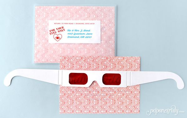 Invitees can use the special glasses to view your top-secret wedding details.