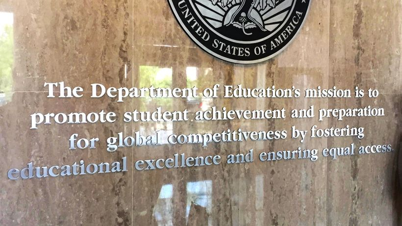 "U.S. Department of Education ""Mission Statement"" at their Washington, DC headquarters."