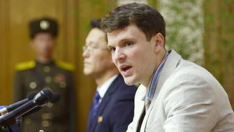 FILE PHOTO - Otto Frederick Warmbier, a University of Virginia student who has been detained in North Korea since early January, attends a news conference in Pyongyang, North Korea, in this photo released by Kyodo February 29, 2016.  Mandatory credit REUTERS/Kyodo ATTENTION EDITORS - THIS IMAGE HAS BEEN SUPPLIED BY A THIRD PARTY. FOR EDITORIAL USE ONLY. NOT FOR SALE FOR MARKETING OR ADVERTISING CAMPAIGNS. MANDATORY CREDIT. JAPAN OUT. NO COMMERCIAL OR EDITORIAL SALES IN JAPAN.