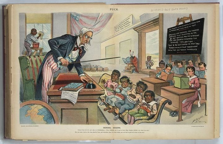 "A print from 1899, the year after the United States took control of Puerto Rico, shows Uncle Sam lecturing ""Cuba, Porto"
