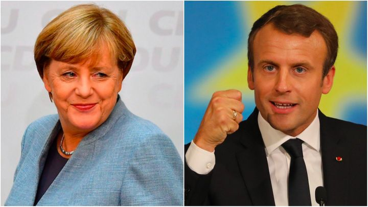 German Chancellor Angela Merkel in Berlin on Sept. 25 (left) and French President Emmanuel Macron in Paris on Sept. 26.