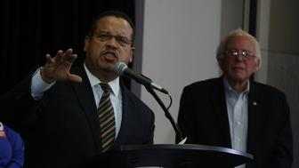 WASHINGTON, DC - DECEMBER 14:  U.S. Rep. Keith Ellison (D-MN) (L) speaks as Sen. Bernie Sanders (I-VT) (R) listens during an event at the headquarters of American Federation of Teachers December 14, 2016 in Washington, DC. The event was held to outline EllisonÕs vision as he campaigns to become the next chairman of the Democratic National Committee.  (Photo by Alex Wong/Getty Images)