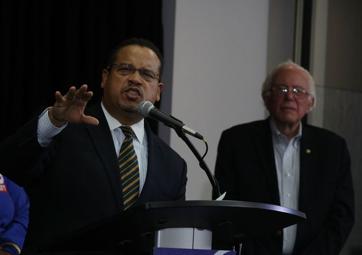 Rep. Keith Ellison (D-Minn.), left, is a longtime ally of Sen. Bernie Sanders (I-Vt.).