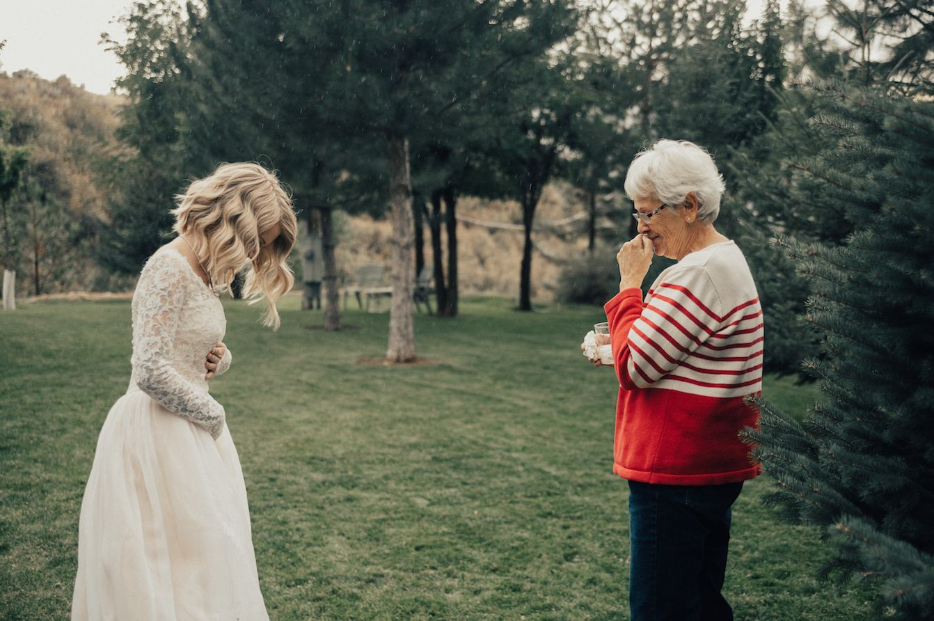 Widow moved to tears as granddaughter surprises her by wearing her 55-year-old wedding dress